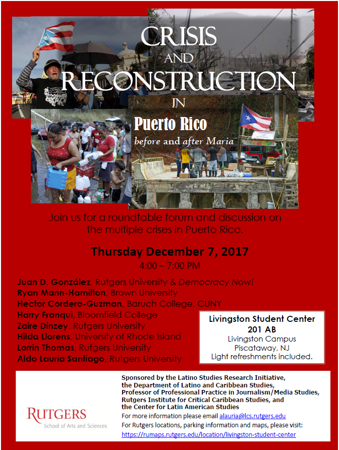 Crisis and Reconstruction in Puerto Rico before and after Maria